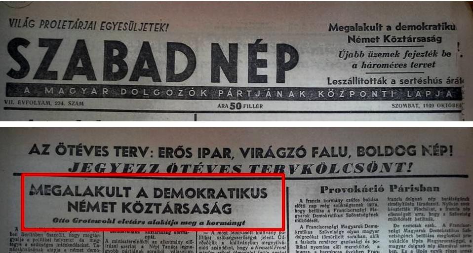 A Szabad Nép otóber 8-án hírül adja az NDK megalakulását